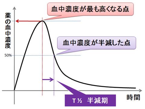 半減期のグラフ